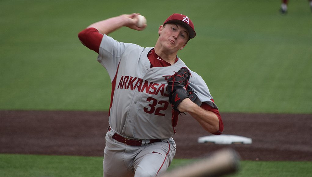 Arkansas RHP Zach Jackson was outstanding on Friday. (Kendall Rogers)