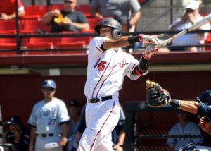 San Diego State catcher Seby Zavala takes a massive swing. (Shotgun Spratling)