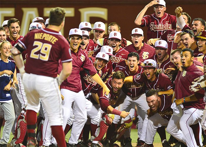 Quincy Nieporte trots home after hitting the walk-off home run against Florida. (FSU)