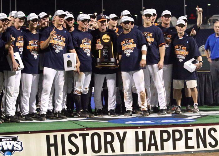 College World Series: Virginia-Vanderbilt - national champions trophy