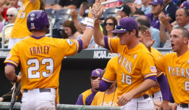 CWS: LSU-TCU - Jake Fraley, Jared Poché