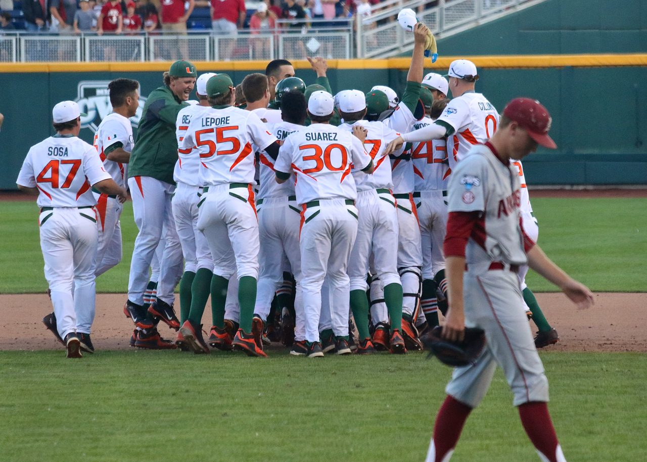 College World Series: Arkansas-Miami -