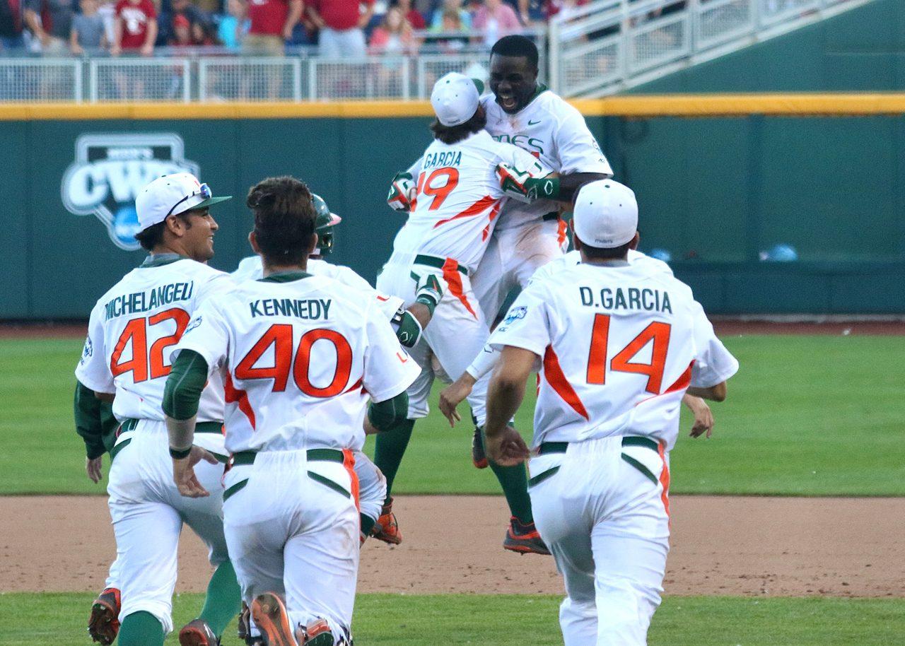 College World Series: Arkansas-Miami - Jacob Heyward, Bryan Garcia