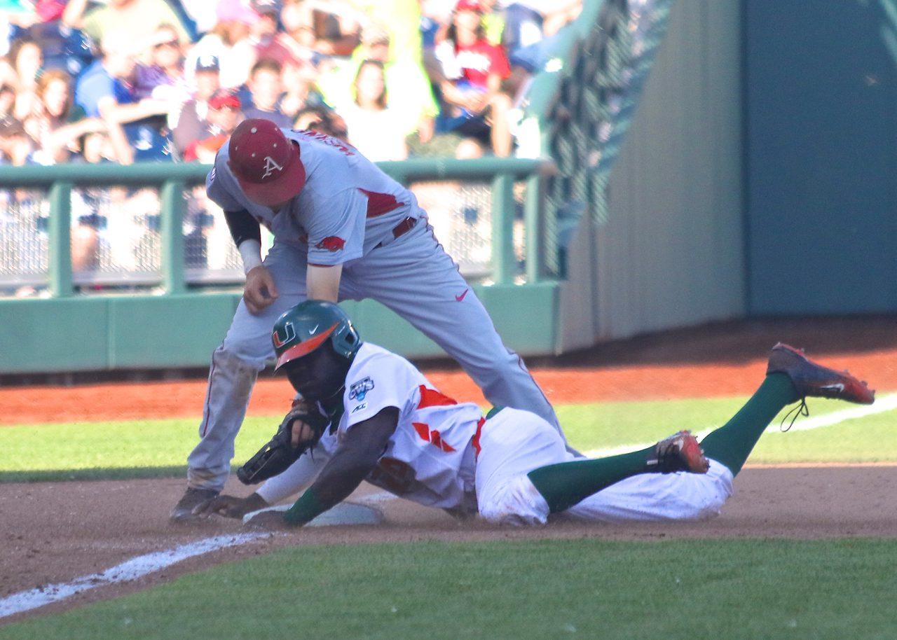 College World Series: Arkansas-Miami - Jacob Heyward, Bobby Wernes