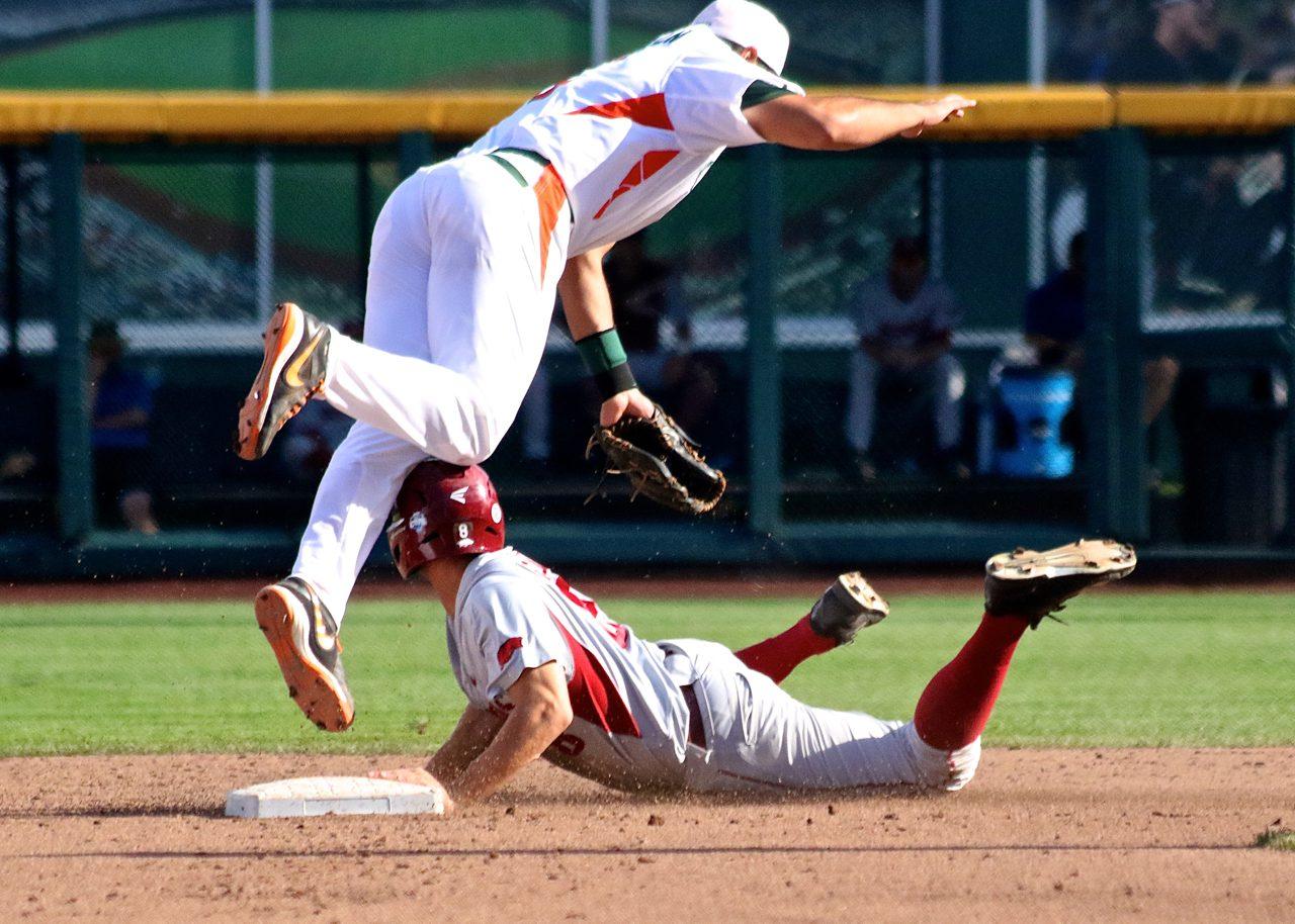 College World Series: Arkansas-Miami - George Iskenderian, Tyler Spoon