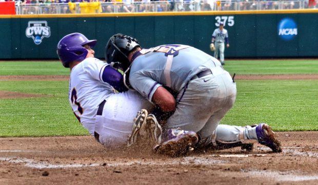 College World Series: TCU-LSU - Jared Foster, Evan Skoug