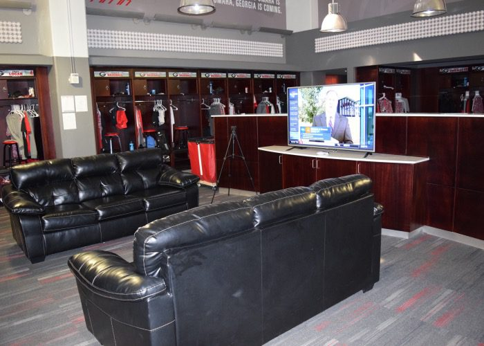 The Georgia Locker Room Is Equipped With Comfortable Leather Couches Aaron Fitt