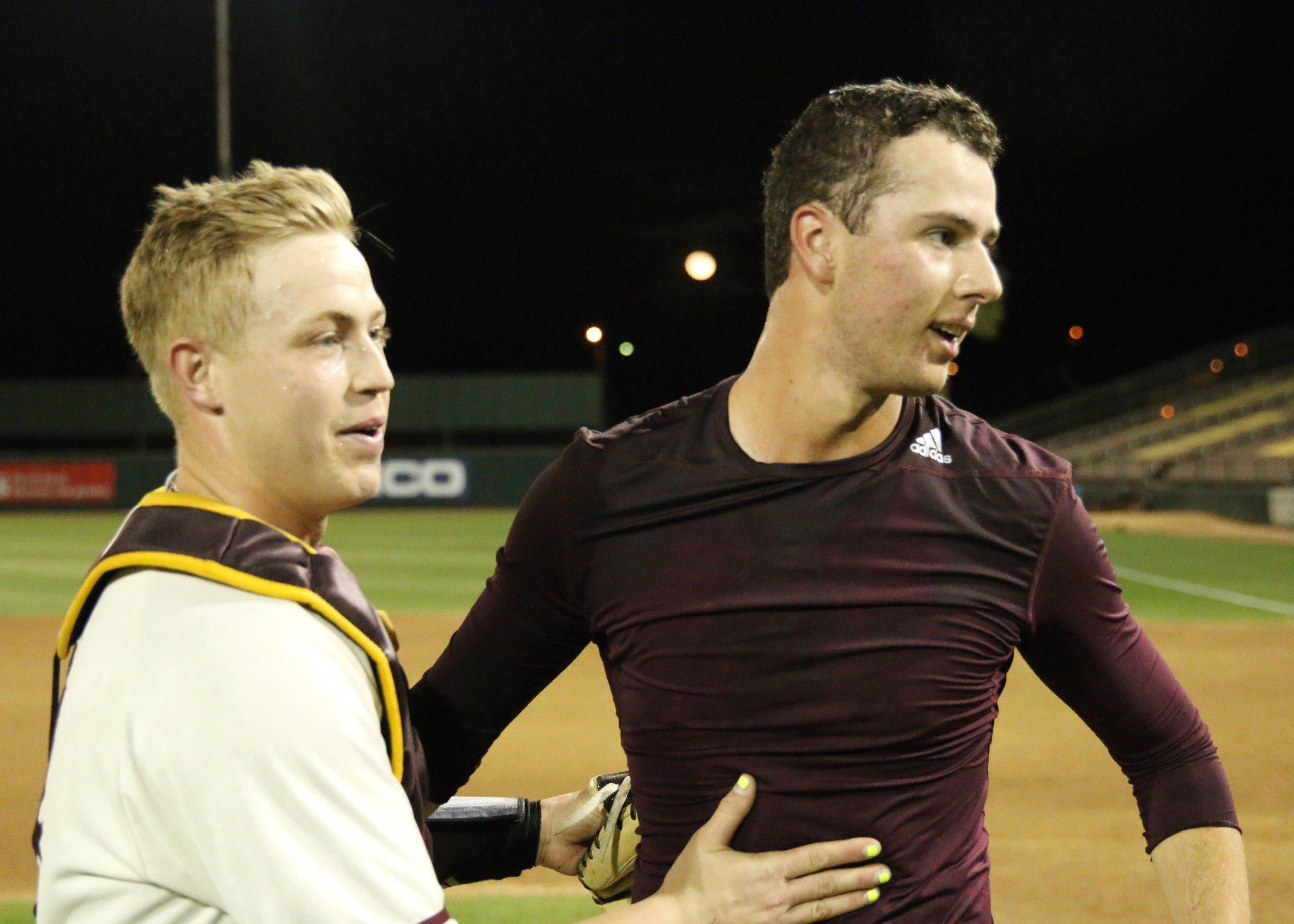 Ryan Hingst celebrates his no-hitter with his catcher Brian Serven (Blake Benard/Blaze Radio)