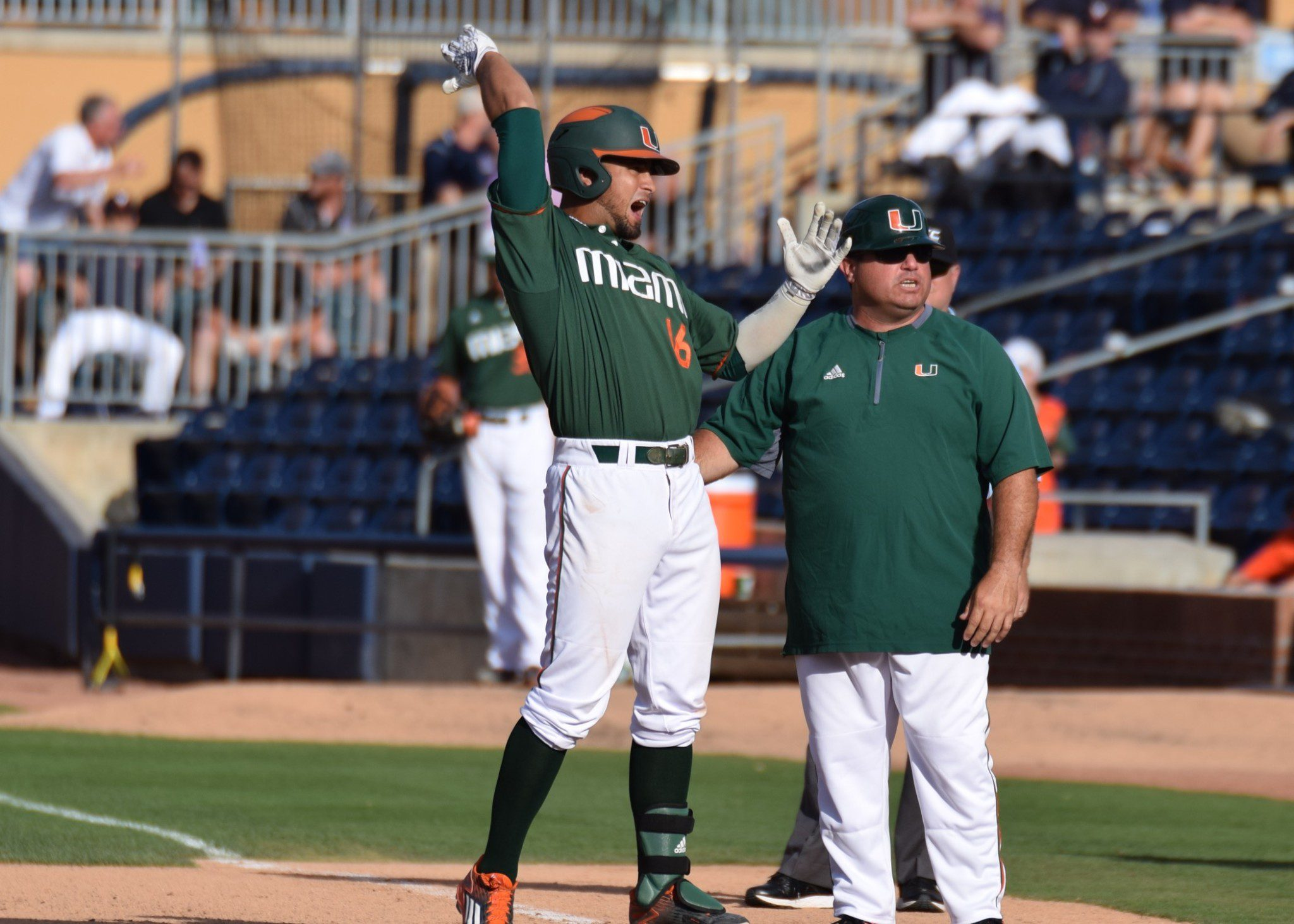 Miami's Edgar Michelangeli rejoices after his game-tying single in the ninth (Aaron Fitt)