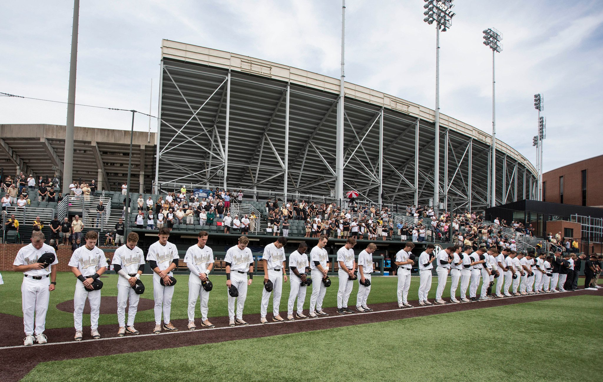 Vanderbilt players left a spot during the national anthem for Donny Everett. (Vandy photo)