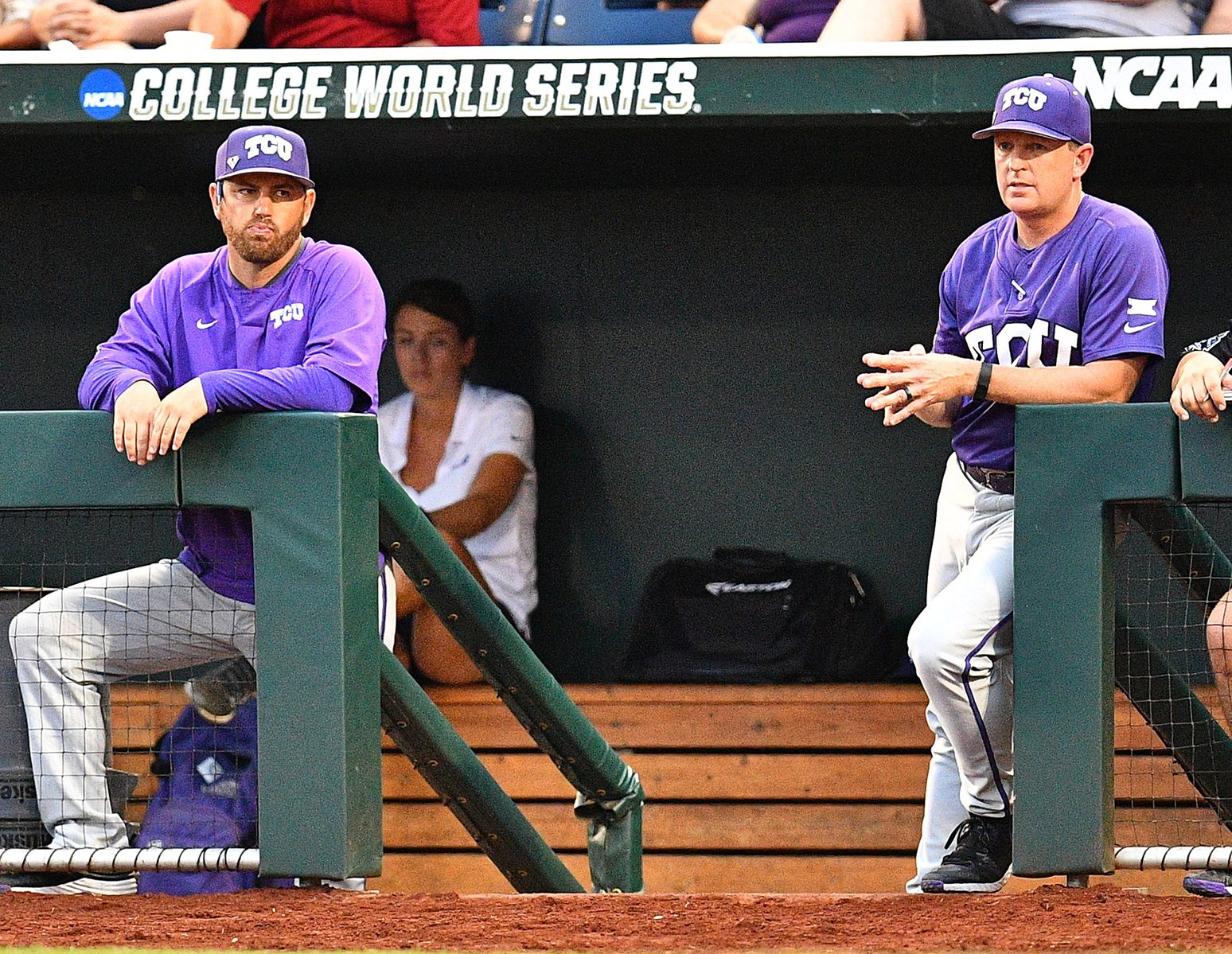Along with Kirk Saarloos, Jim Schlossnagle (R), loves the staff he has put together. (TCU)