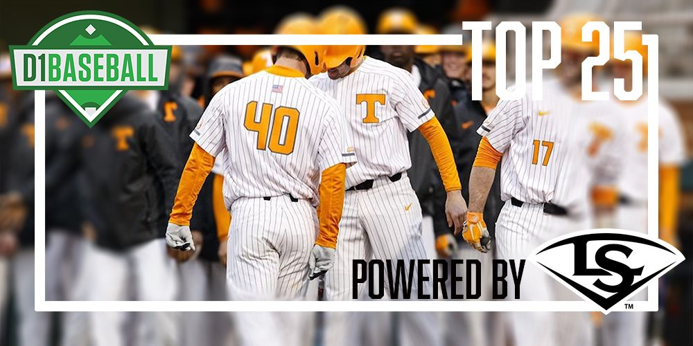 Tennessee joined the D1Baseball Top 25, powered by Louisville Slugger