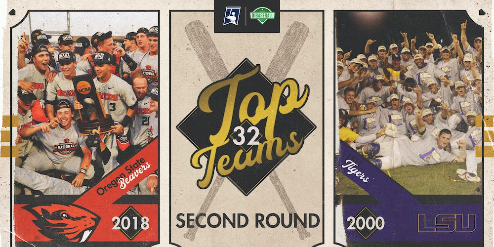 2018 Oregon State vs 2000 LSU - Top Teams Second Round Graphic